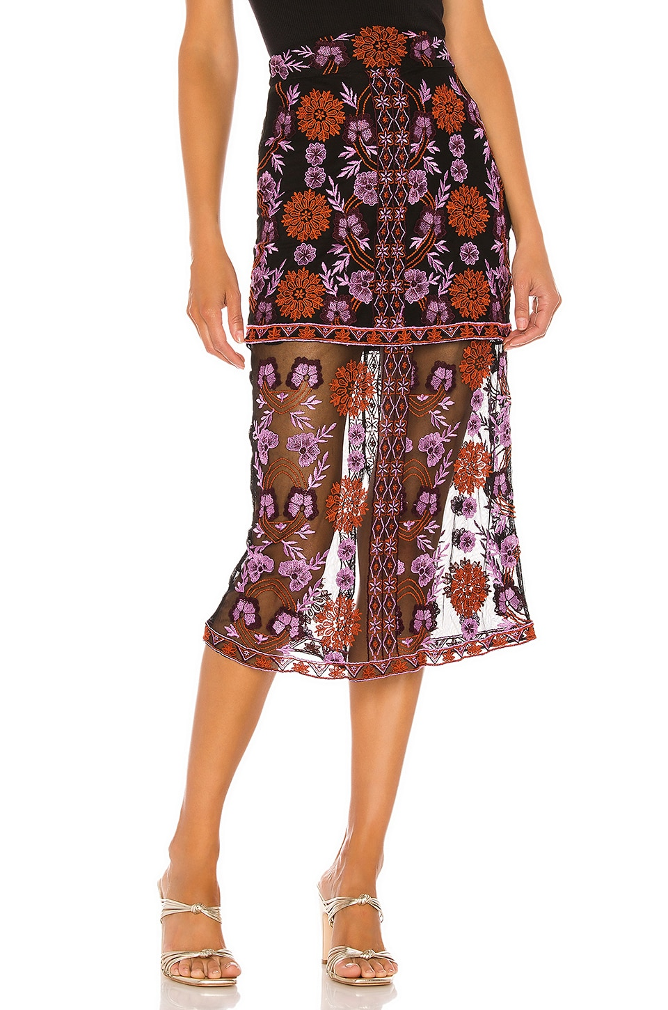 House of Harlow 1960 x REVOLVE Ariana Midi Skirt in Noir Multi