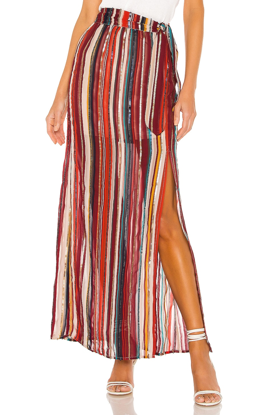 House of Harlow 1960 x REVOLVE Mya Maxi Skirt in Red Multi Stripe