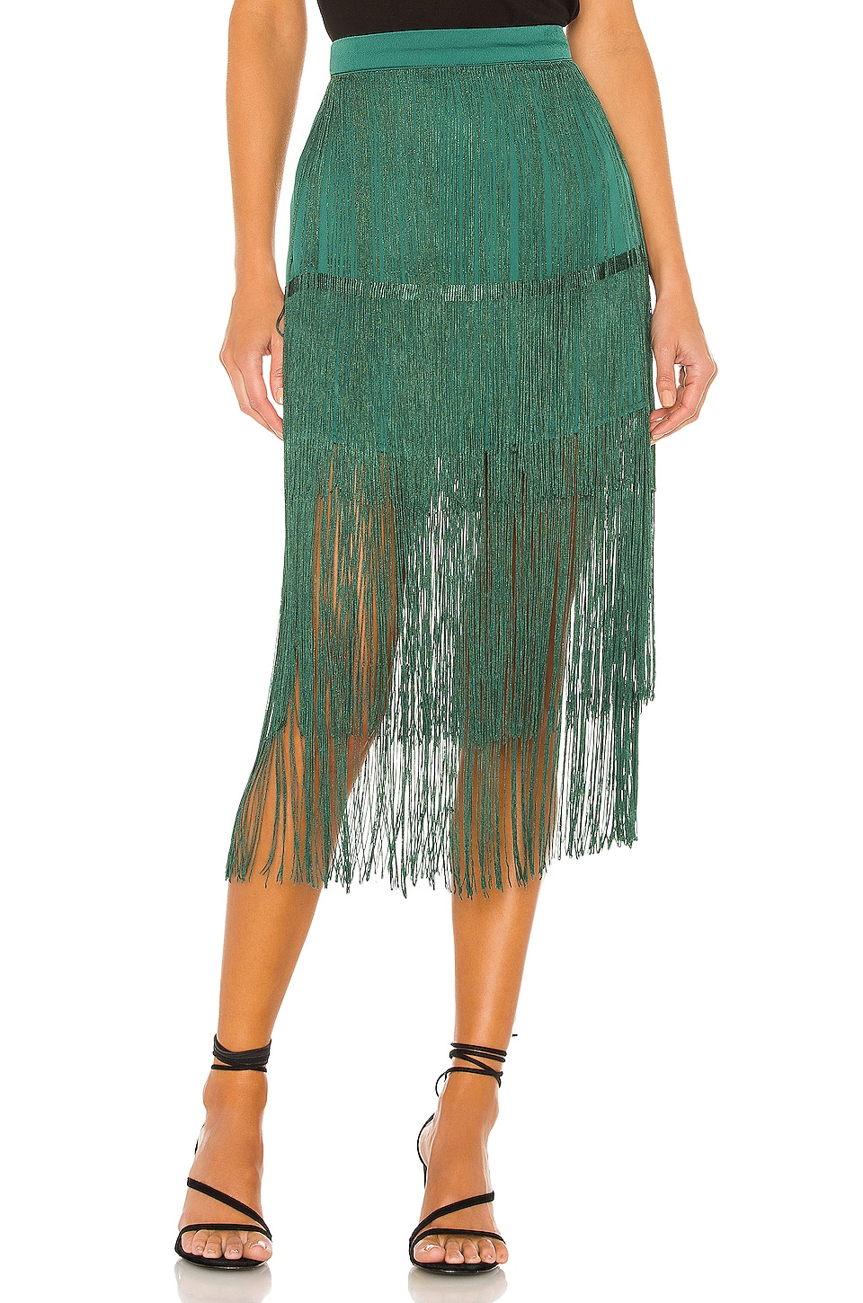 House of Harlow 1960 x REVOLVE Andres Fringe Skirt in Emerald