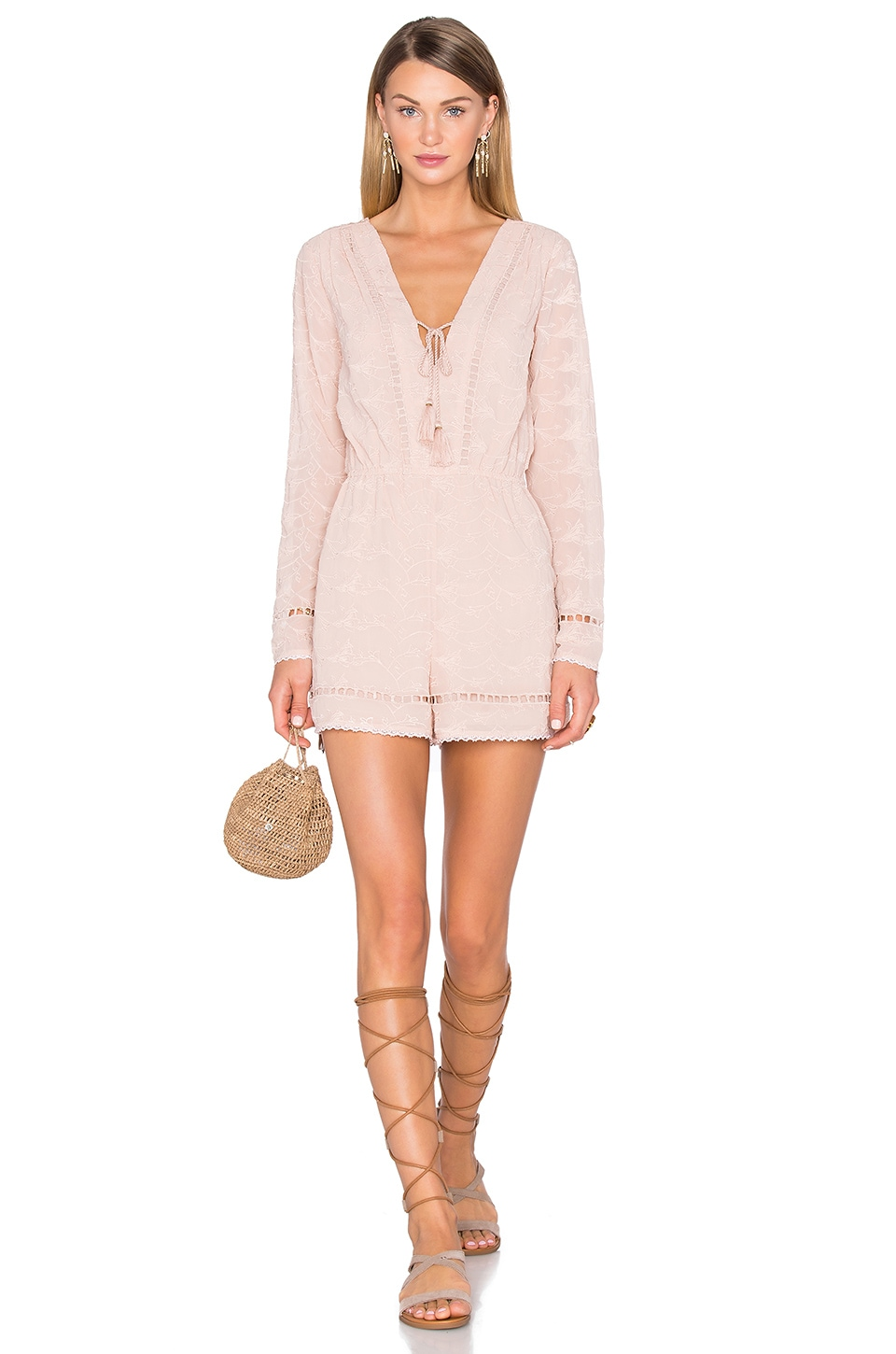House of Harlow 1960 x REVOLVE Mila Long Sleeve Romper in Taupe