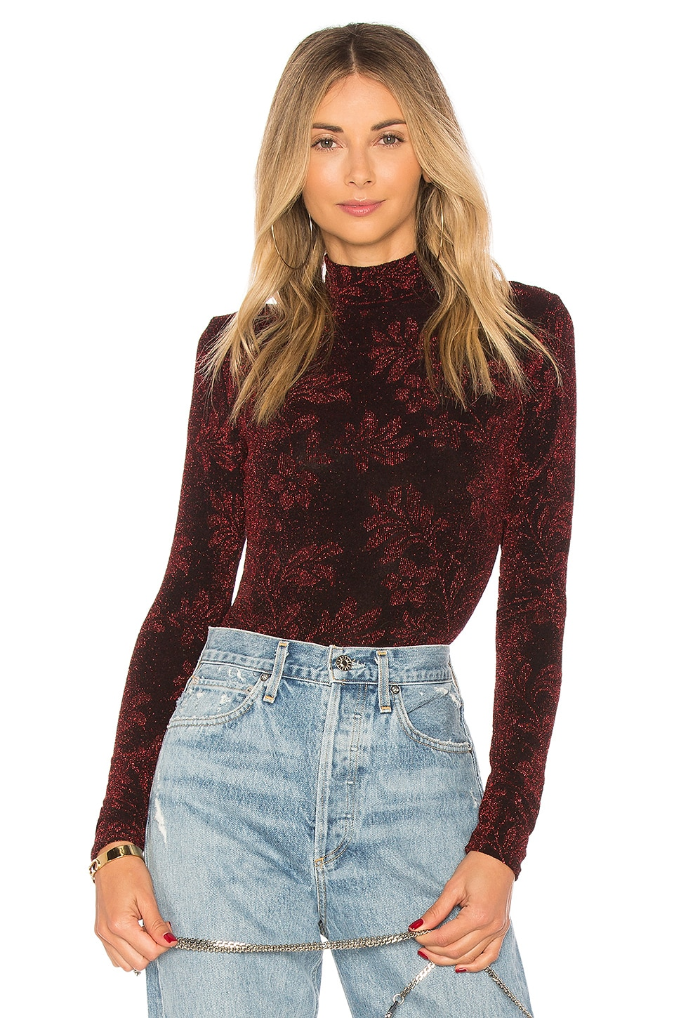 House of Harlow 1960 x REVOLVE Gwendolyn Bodysuit in Garnet