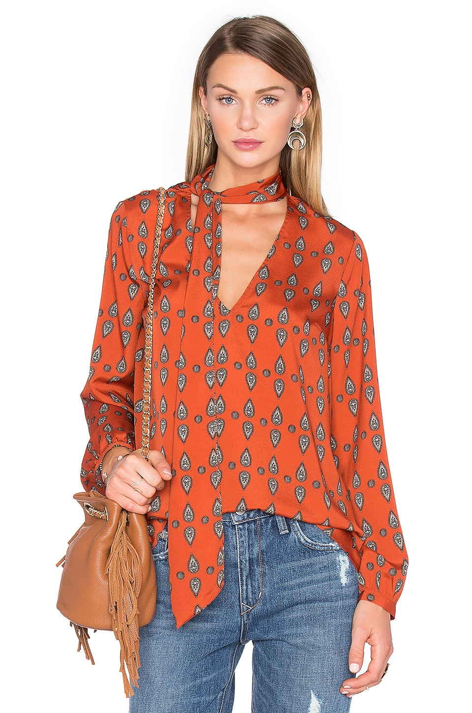 House of Harlow 1960 x REVOLVE Naomi Tie Neck Blouse in Red Orange Paisley