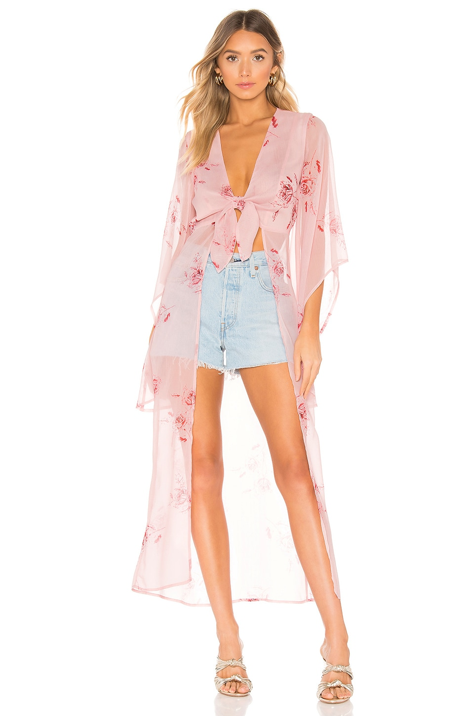 House of Harlow 1960 X REVOLVE Isa Maxi Blouse in Pink Floral