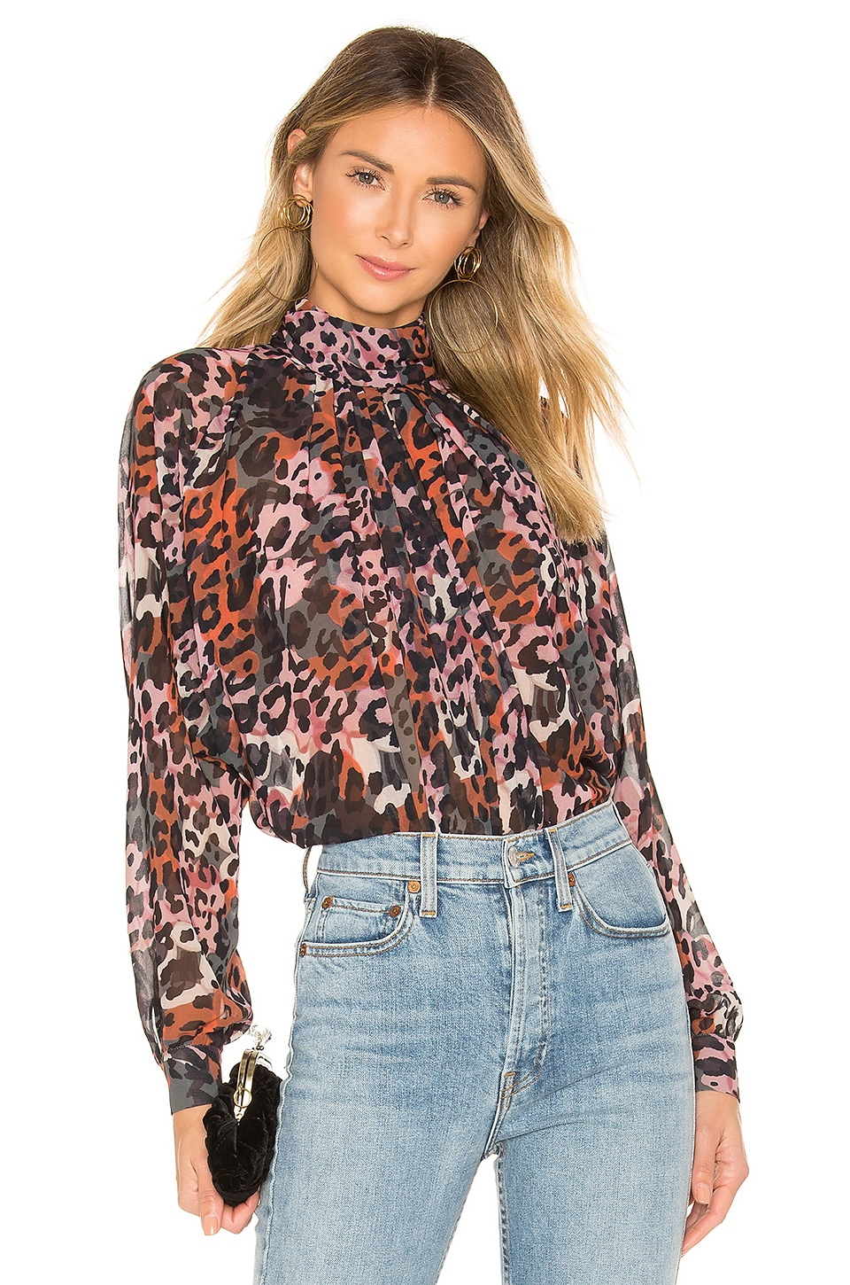 House of Harlow 1960 X REVOLVE Dalys Blouse in Leopard Multi