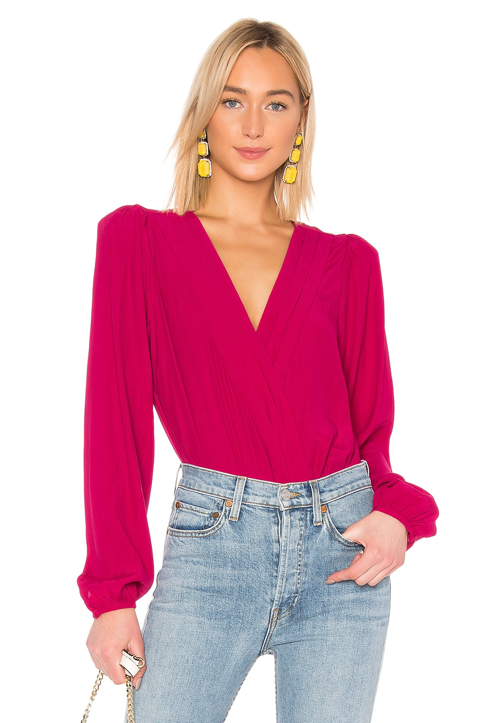 House of Harlow 1960 X REVOLVE Ivania Blouse in Fuchsia