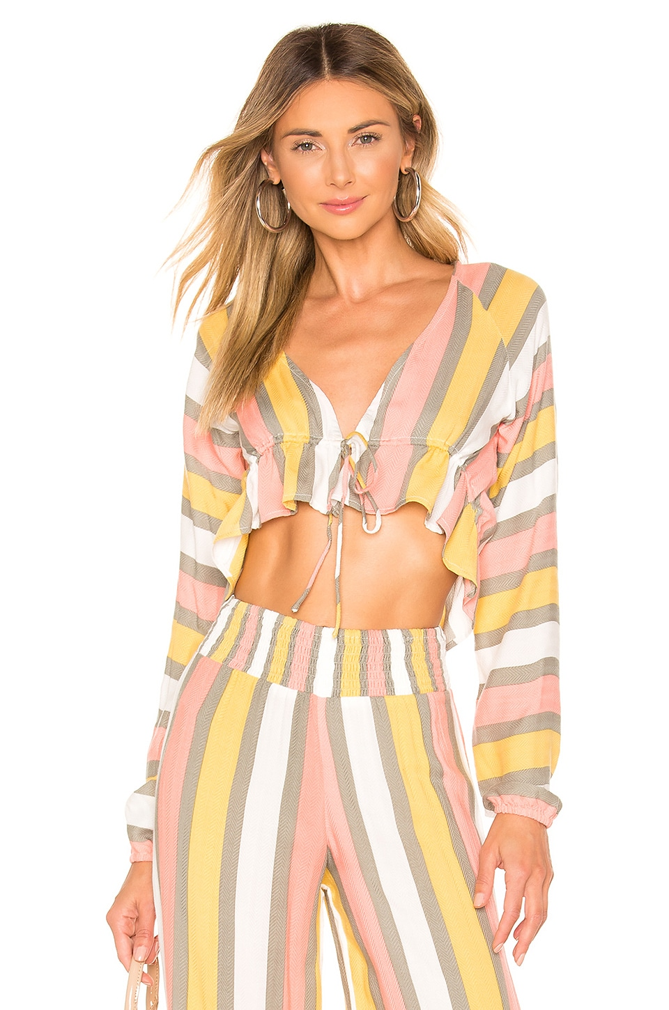 House of Harlow 1960 X REVOLVE Aerglo Top in Earthy Stripe