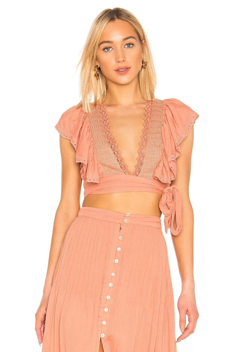 House of Harlow 1960 X REVOLVE Juniper Top in Rose