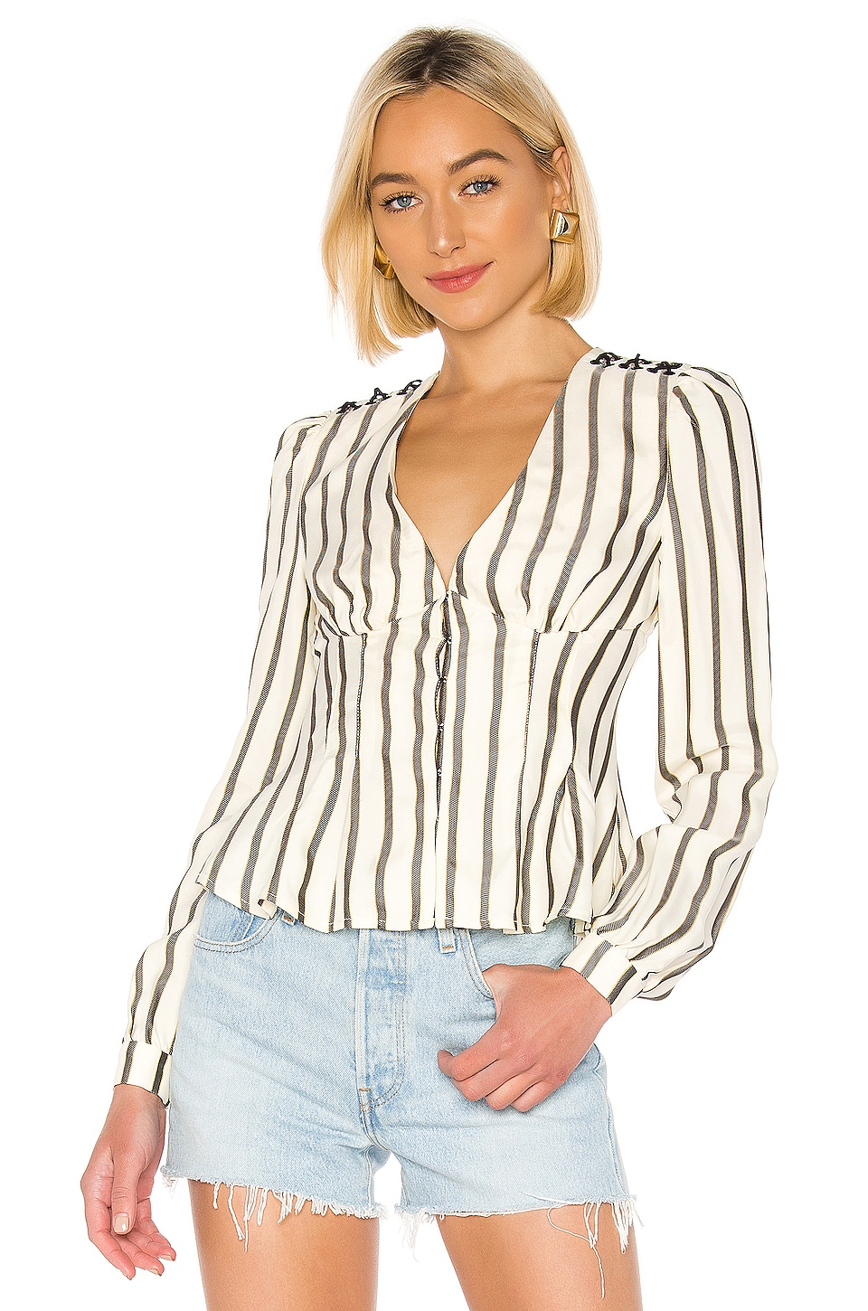 House of Harlow 1960 X REVOLVE Milan Blouse in Ivory & Black Stripe