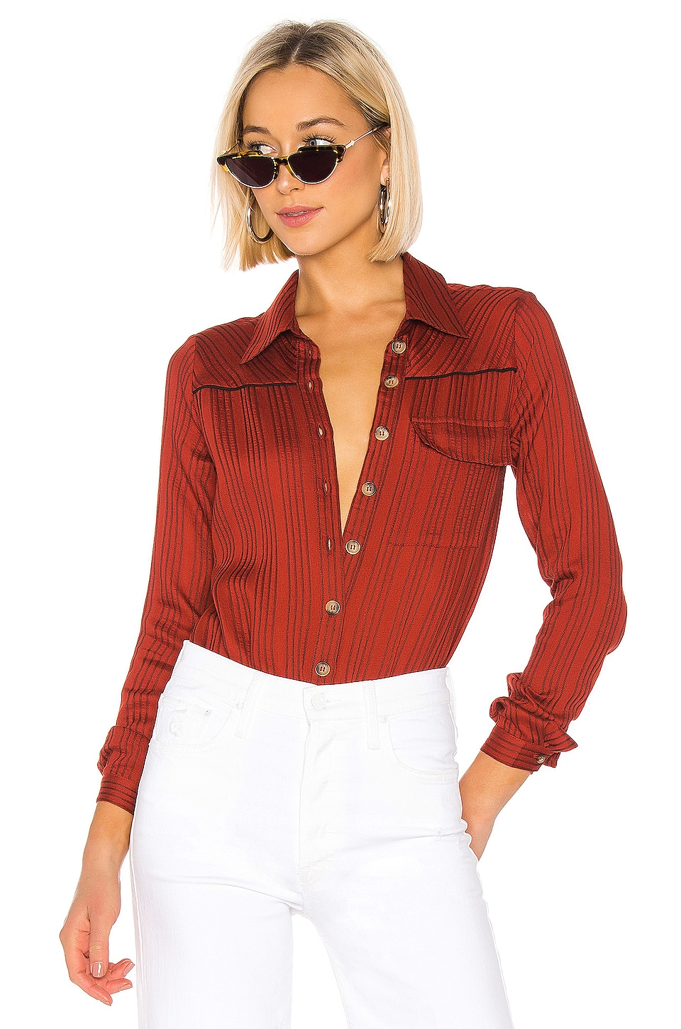 House of Harlow 1960 x REVOLVE Selma Bodysuit in Spice Red