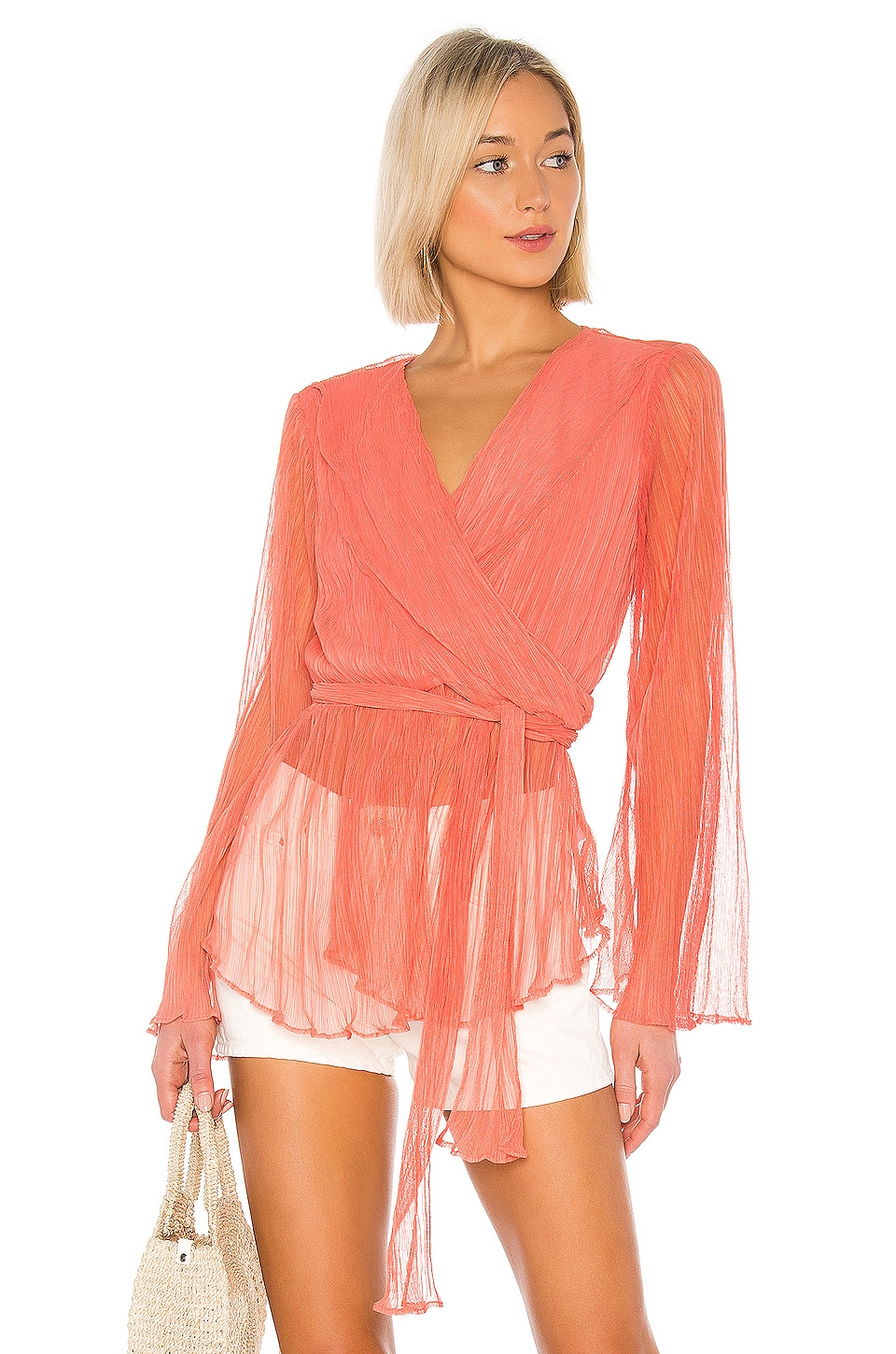House of Harlow 1960 X REVOLVE Meriem Blouse in Coral