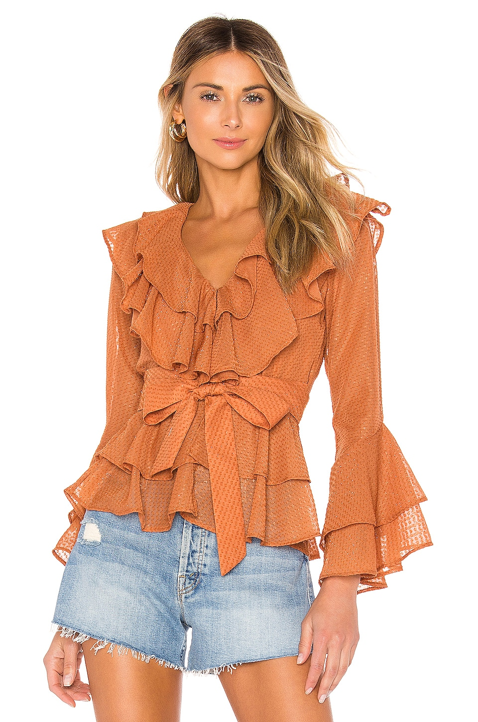 House of Harlow 1960 X REVOLVE Quintana Blouse in Peach