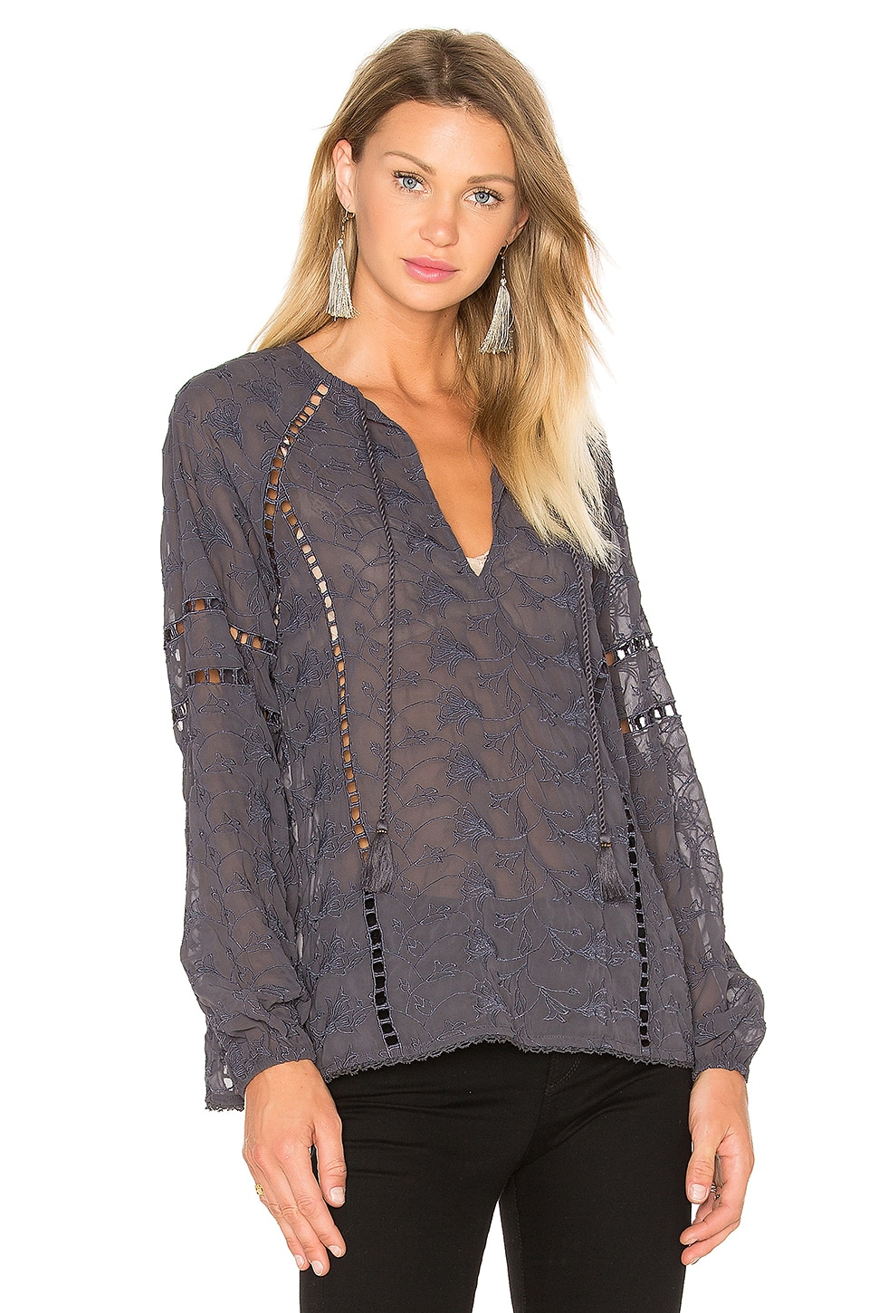 House of Harlow 1960 x REVOLVE Sophie V-Neck Blouse in Ash