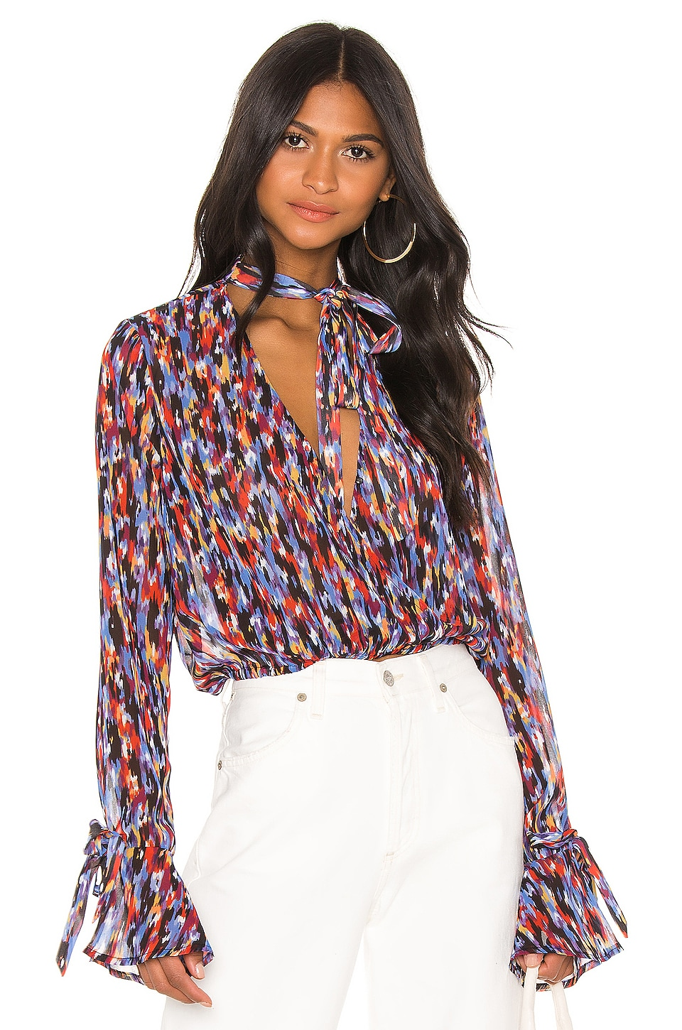 House of Harlow 1960 X REVOLVE Joli Tie Cuff Blouse in Blue Multi