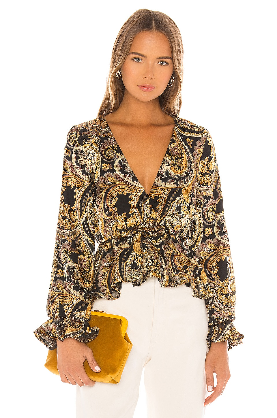 House of Harlow 1960 X REVOLVE Maisha Top in Black & Gold Paisley