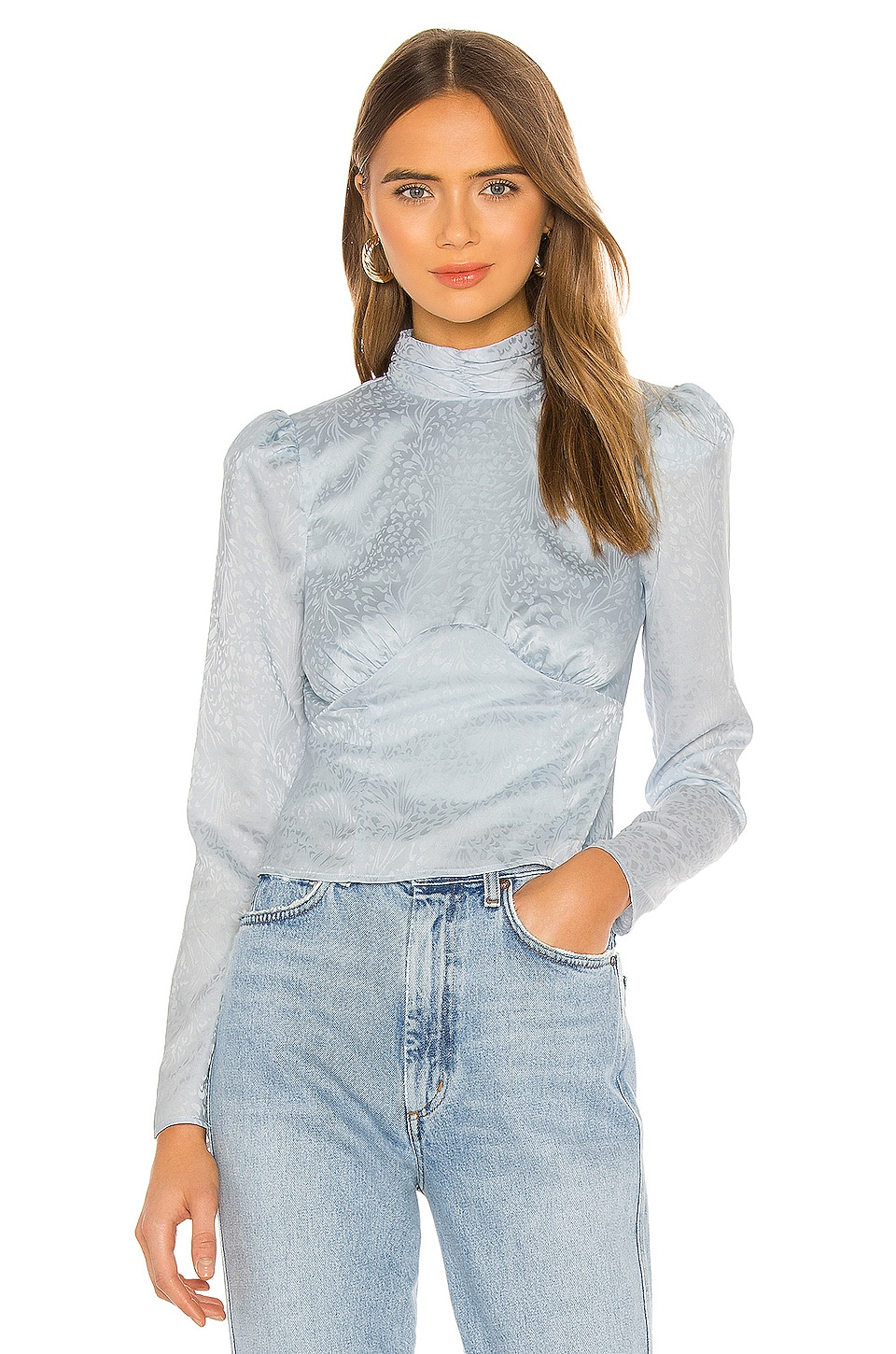 House of Harlow 1960 x REVOLVE Ahra Blouse in Dusty Blue