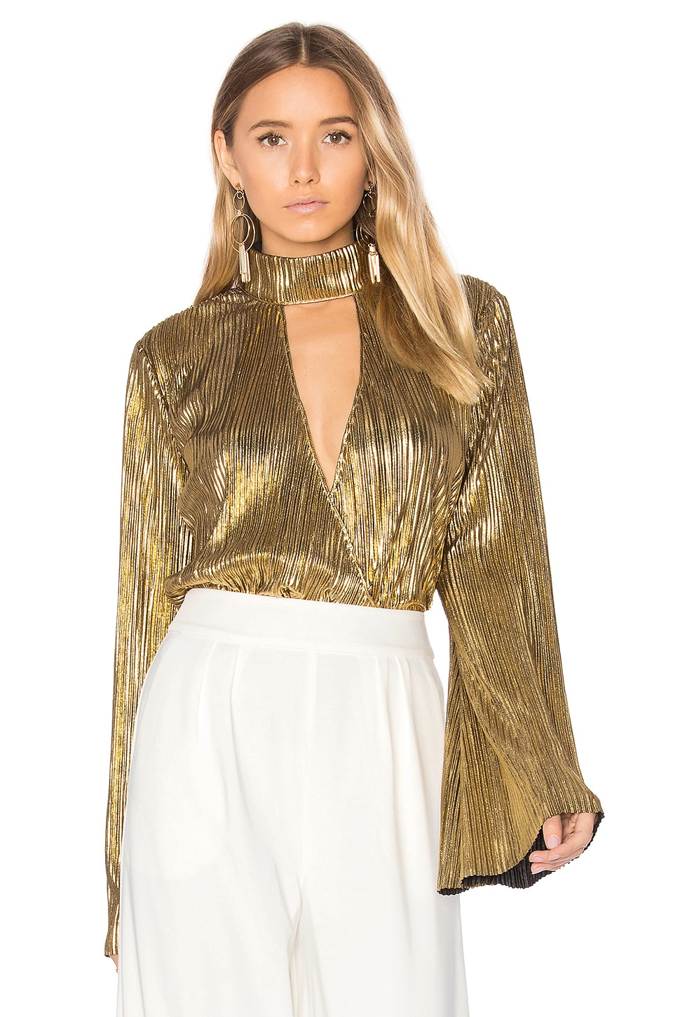 House of Harlow 1960 x REVOLVE Lynn Blouse in Gold