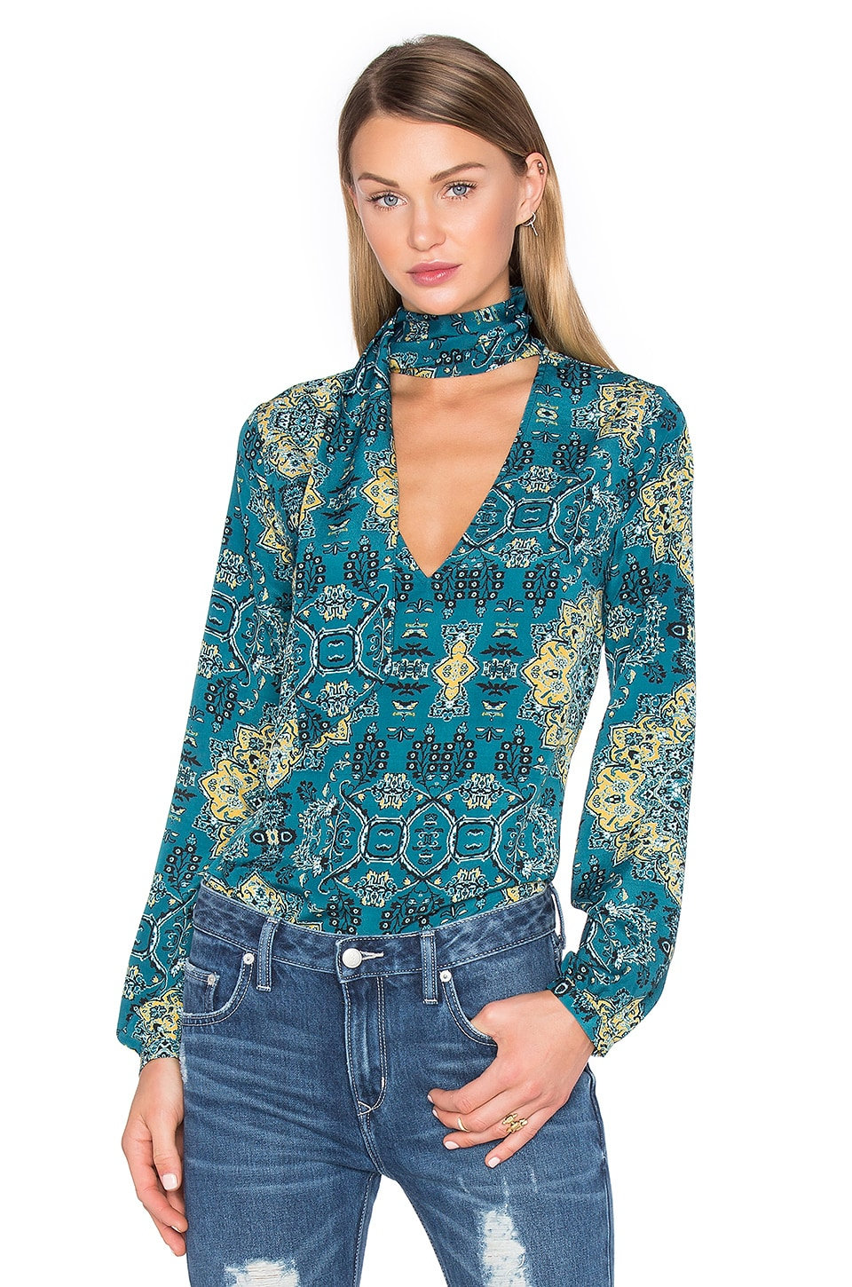 House of Harlow 1960 x REVOLVE Naomi Tie Neck Blouse in Moroccan Tile Print