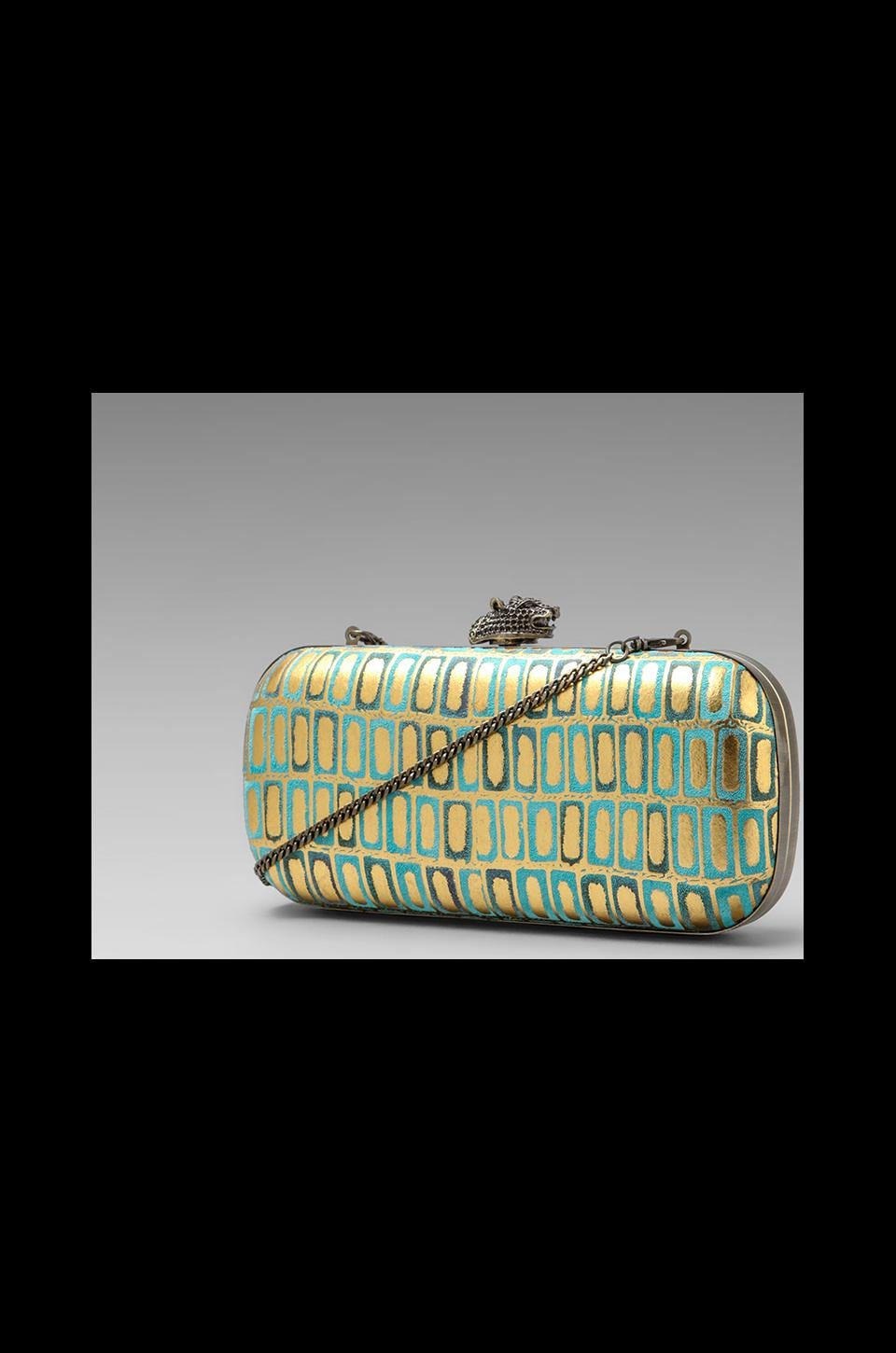 House of Harlow 1960 House of Harlow Addison Clutch in Turquoise/Gold