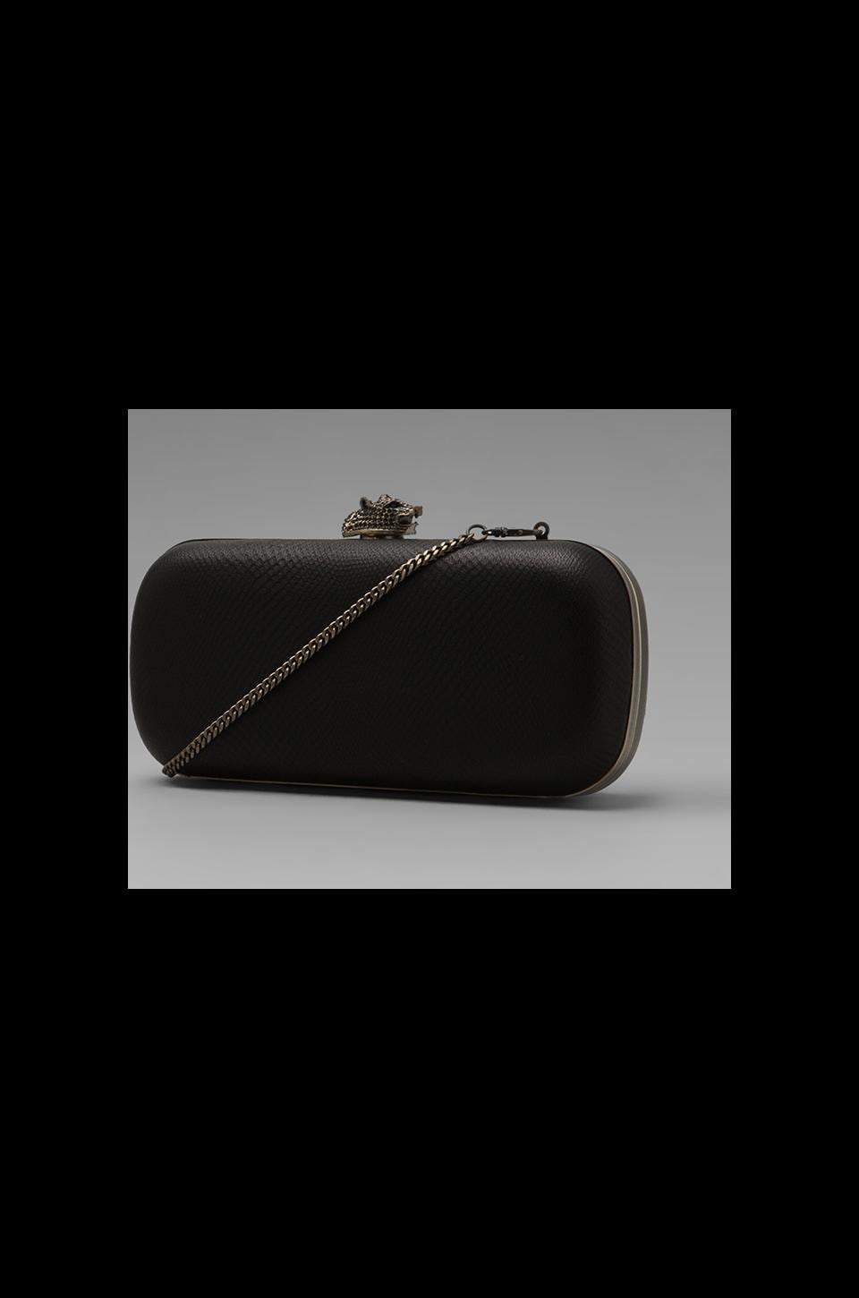 House of Harlow Adele Clutch in Matt Black with Brass Hardware