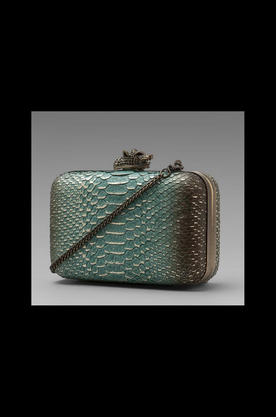 House of Harlow Dylan Clutch in Aqua Metallic/Brass