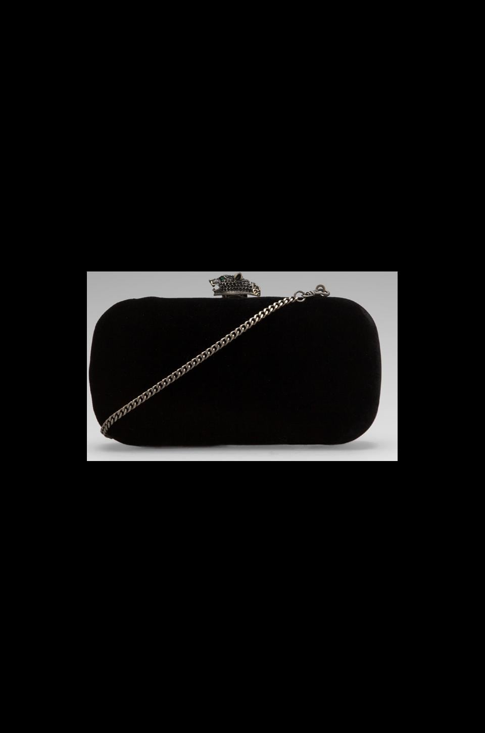 House of Harlow Danielle Clutch in Sodalite Black Velvet