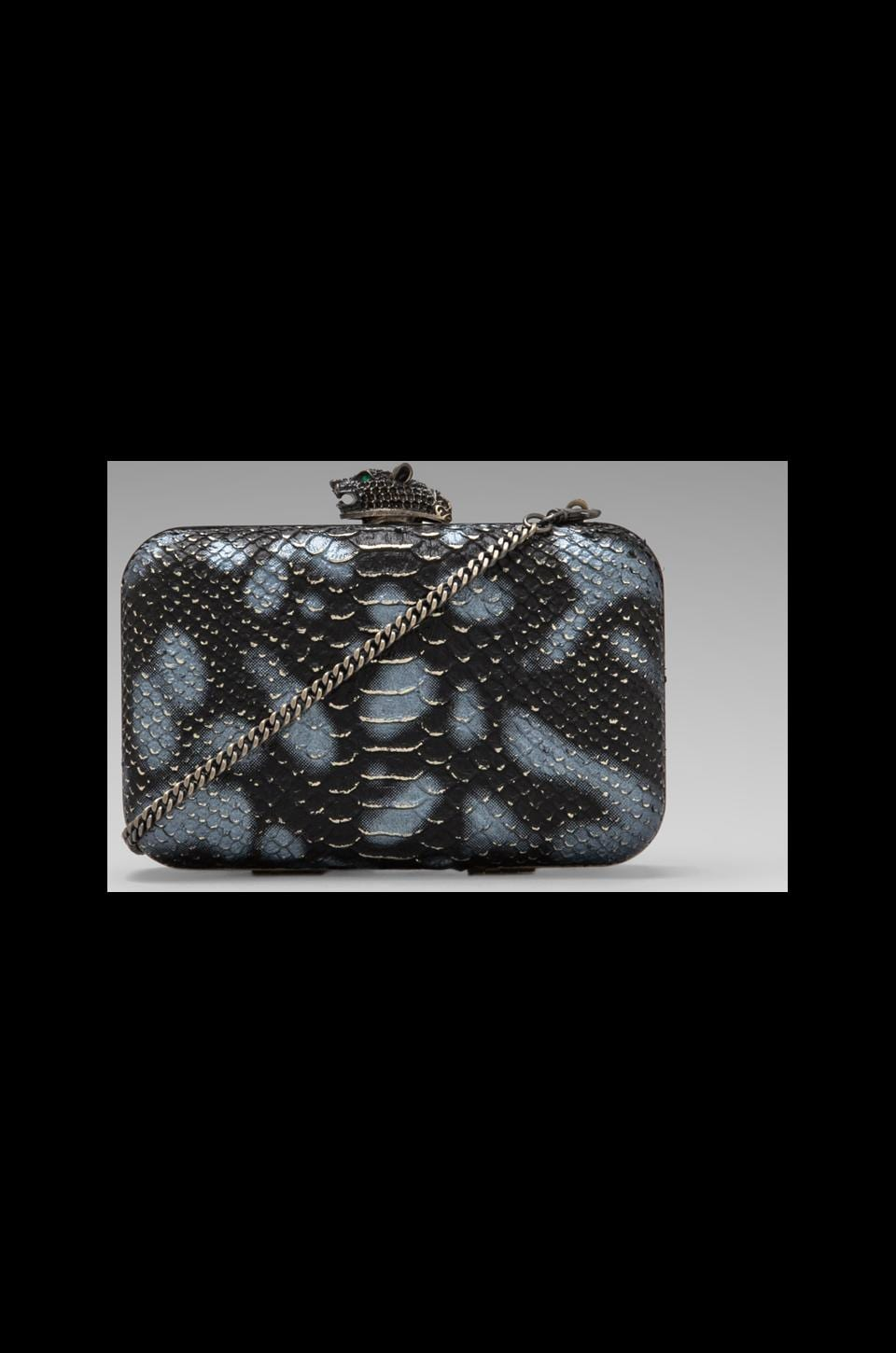 House of Harlow Dylan Clutch in Black/White/Gold Foil Snake