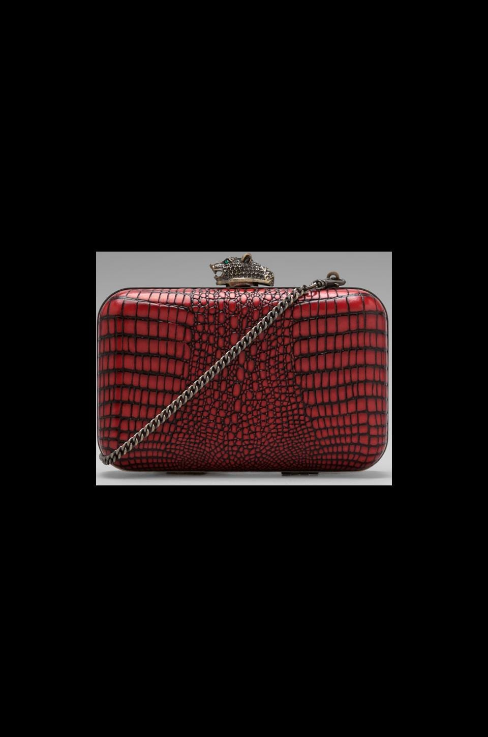 House of Harlow 1960 House of Harlow Dylan Clutch in Chili Red Matte Croc