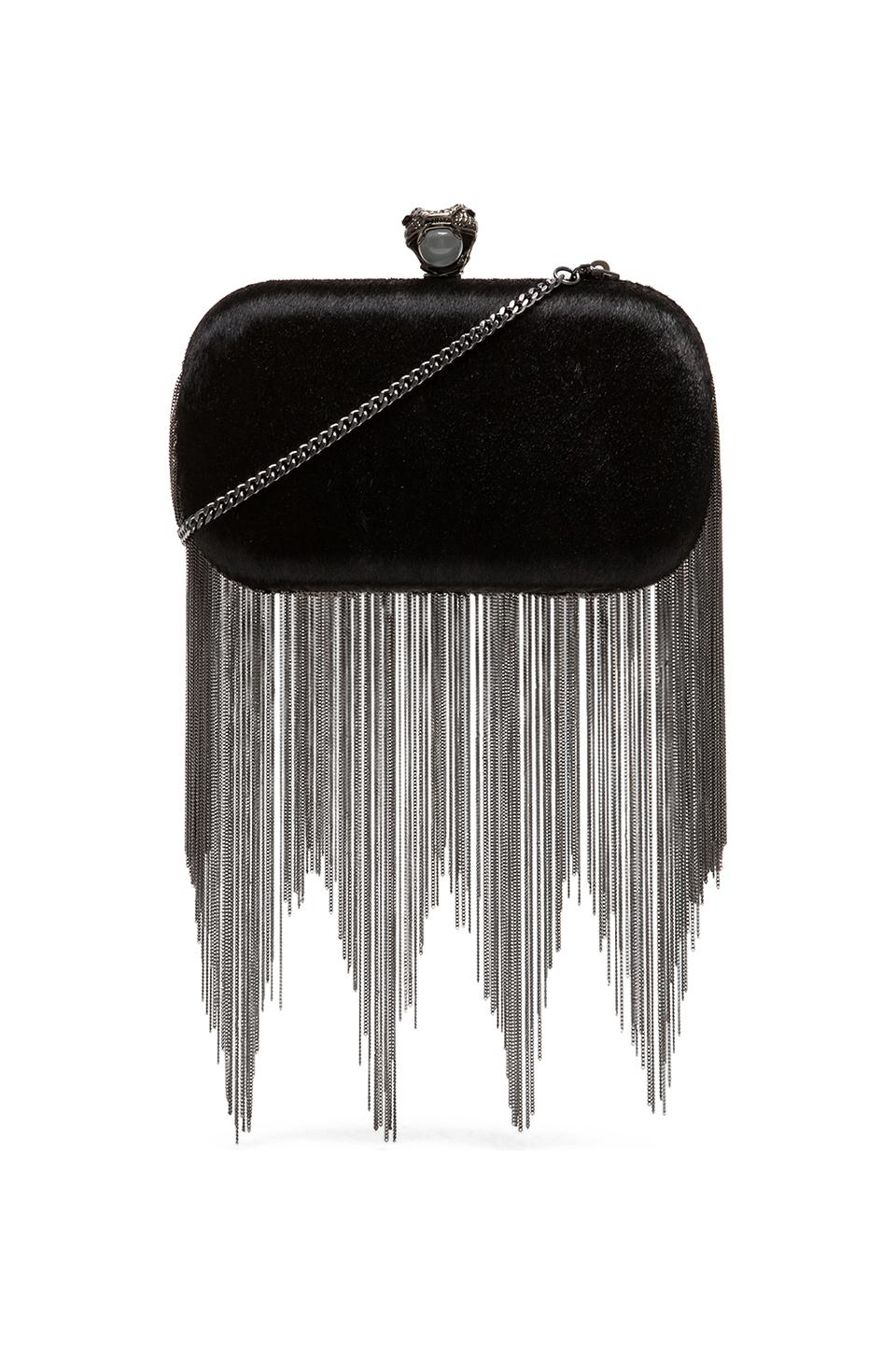 House of Harlow Jude Clutch in Black Haircalf