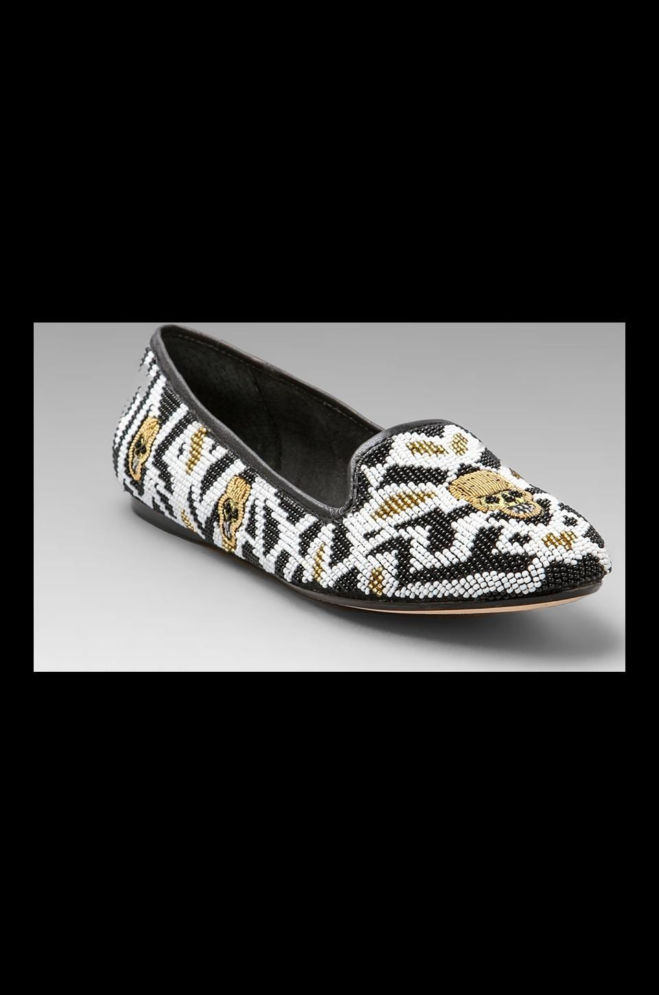 House of Harlow 1960 House of Harlow Zenith Beaded Flat in Black/White