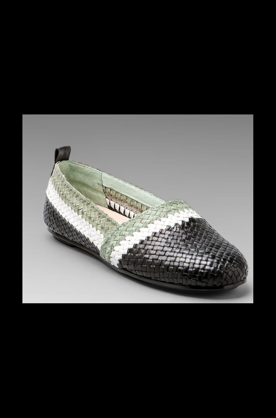 House of Harlow 1960 House of Harlow Woven Kye Flat in Black/Mint/White