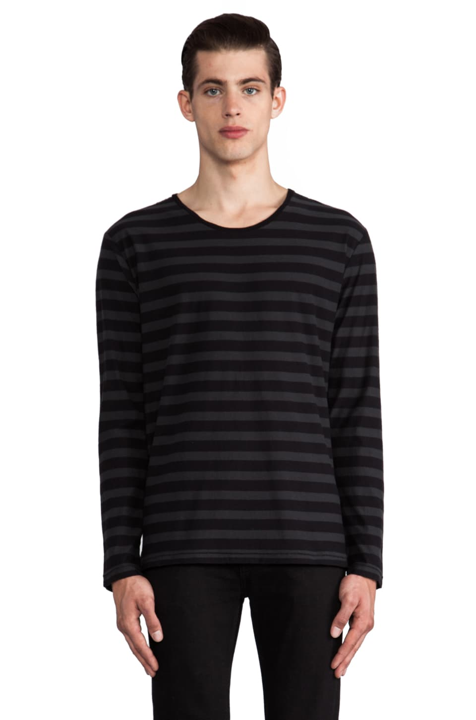 Hope Troop Tee in Faded Black Stripe