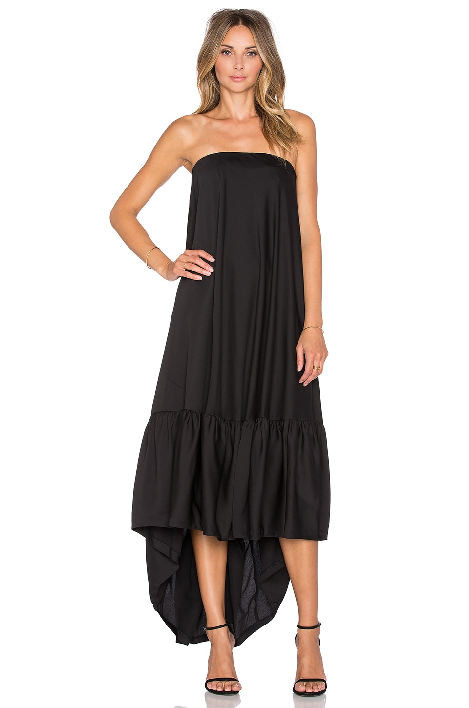 Hoss Intropia Strapless Hi Lo Gown in Black