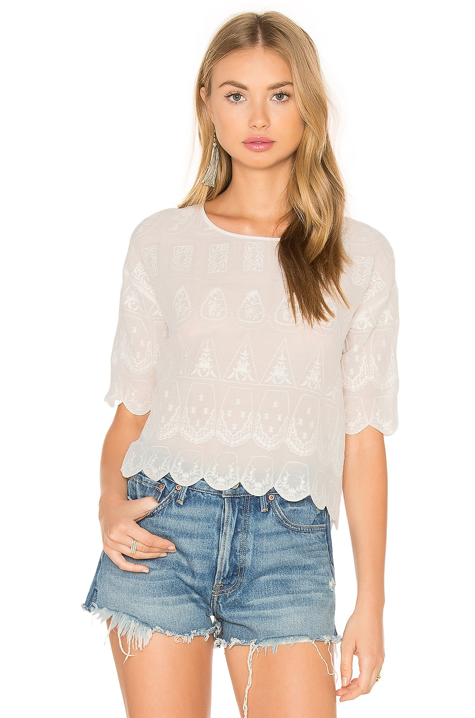 Hoss Intropia Short Sleeve Blouse in Off White