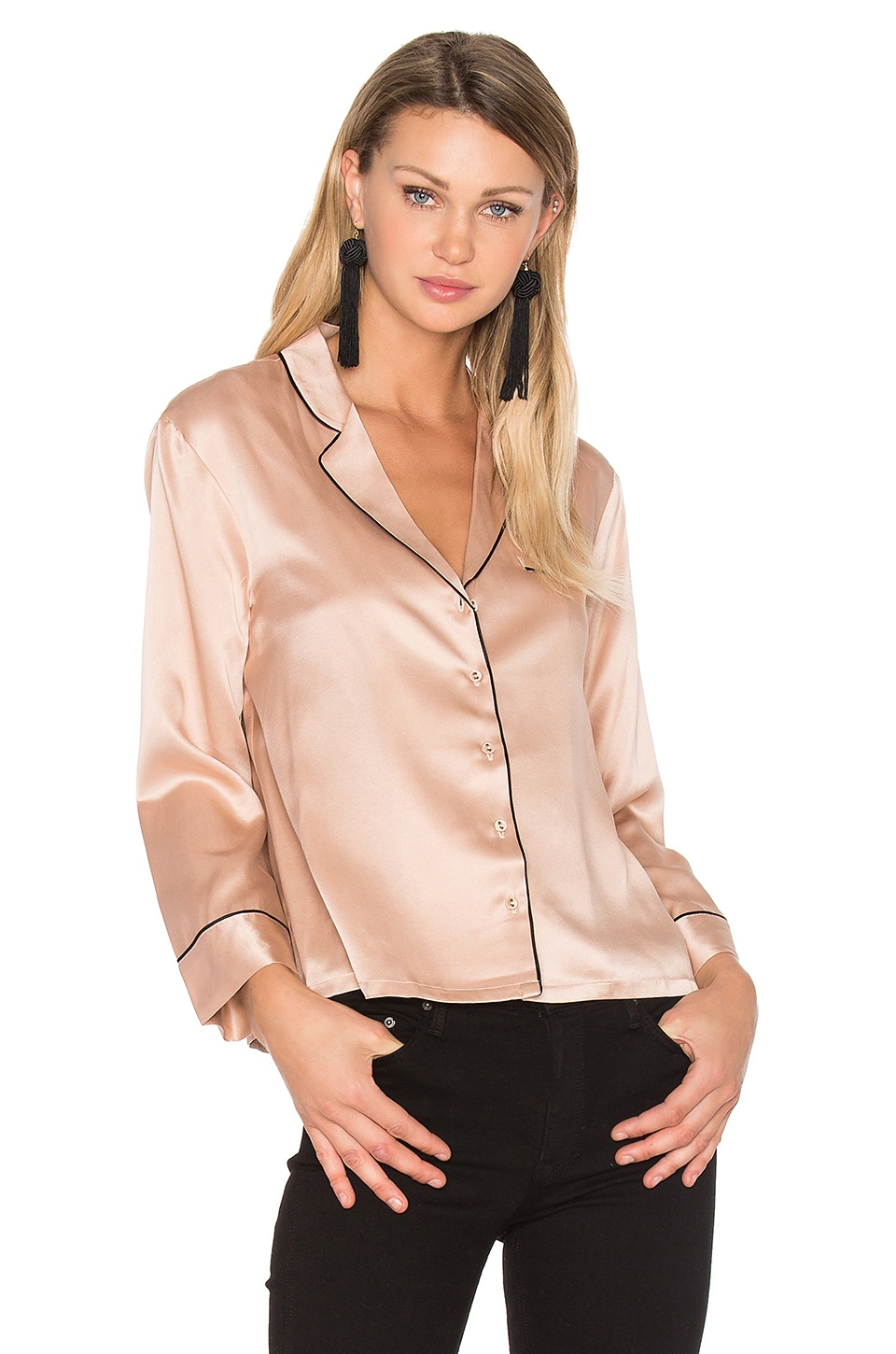 Hoss Intropia V Neck Button Up Blouse in Pale Pink