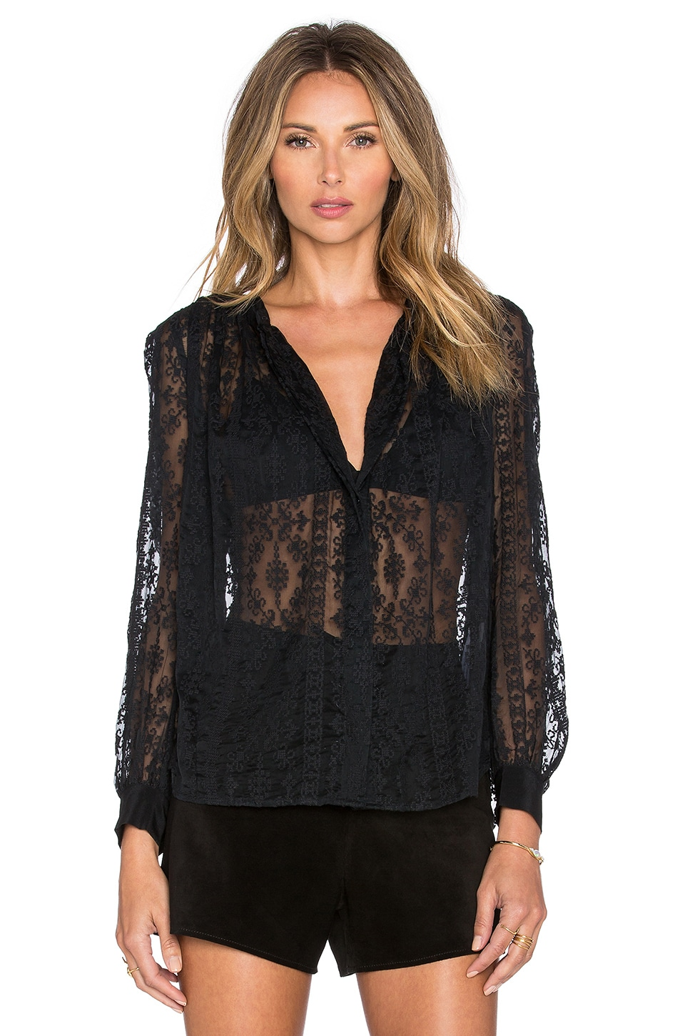 Hoss Intropia Floral Button Up Blouse in Black