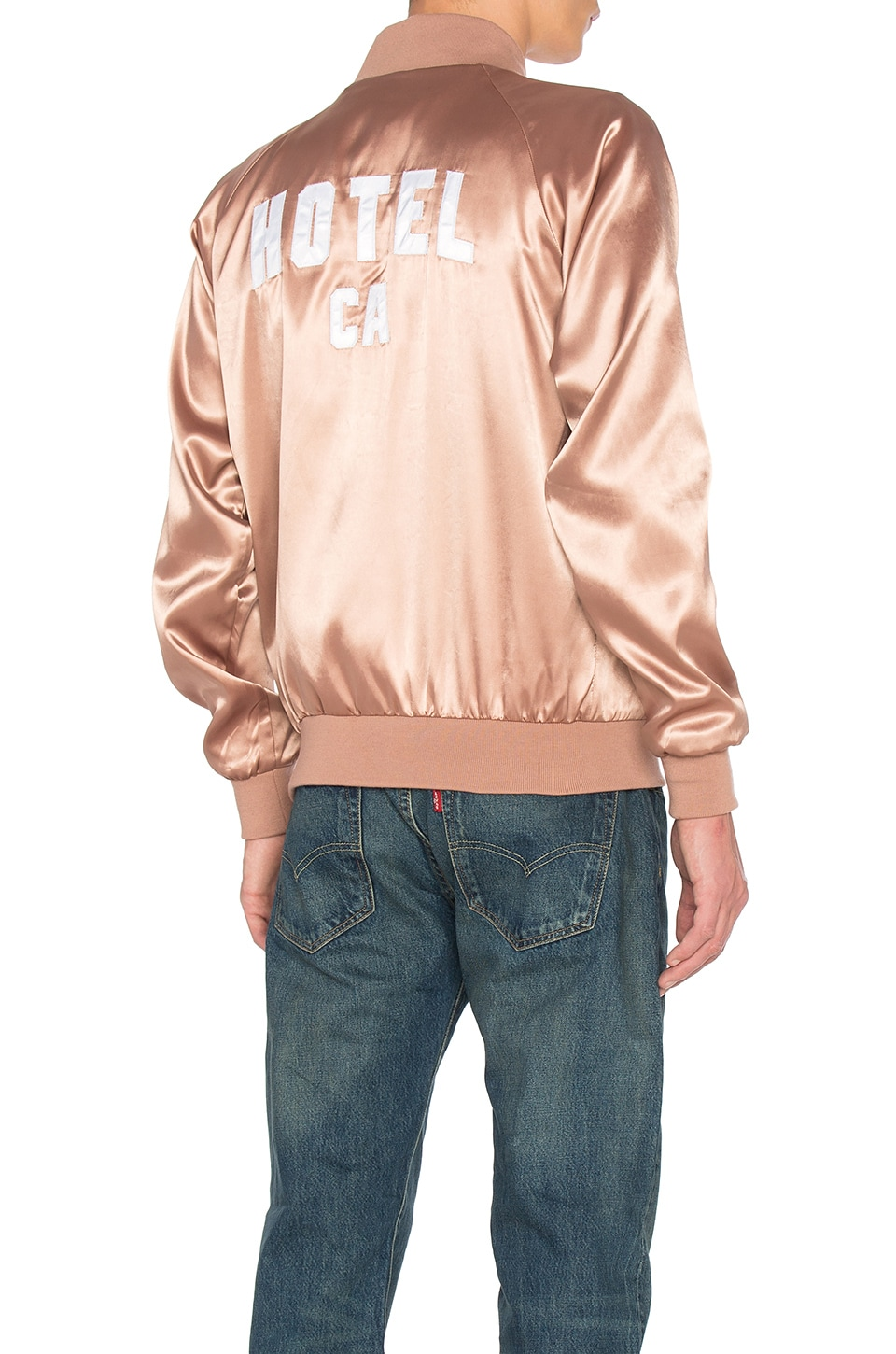 Hotel 1171 Hotel CA Satin Bomber in Rose Taupe
