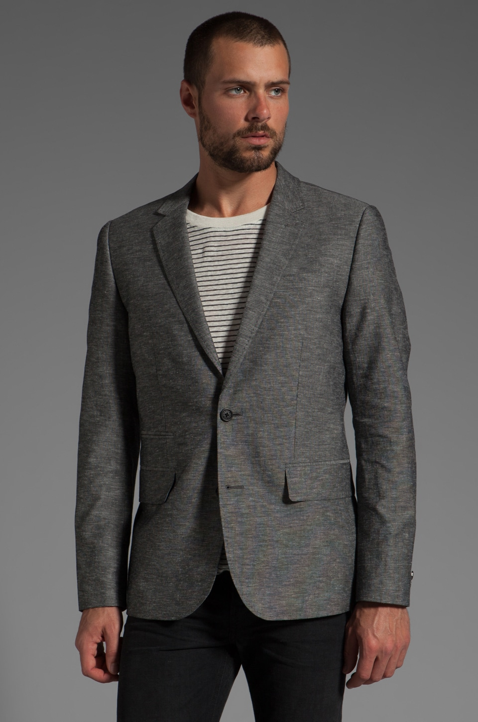 Howe Personal Jesus Chambray Blazer in Fade to Black