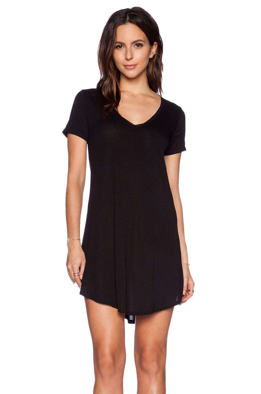 Heather V Neck Pocket Tee Dress in Black