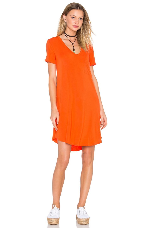 Heather V-Neck Pocket Tee Dress in Blood Orange