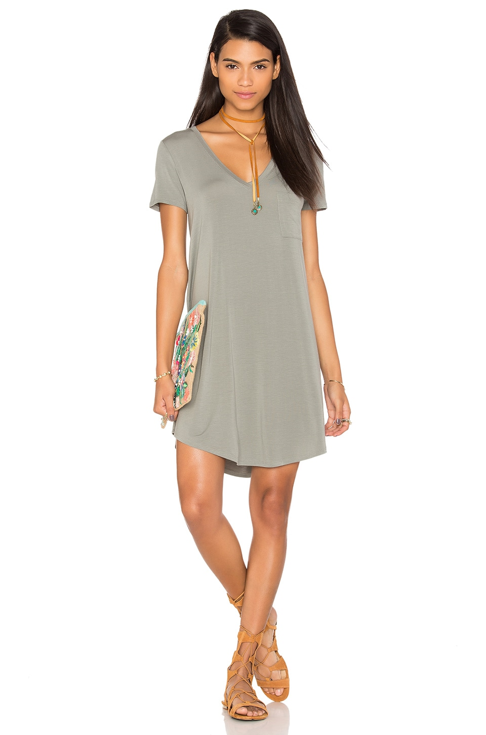 Heather V Neck Pocket Tee Dress in Cobblestone
