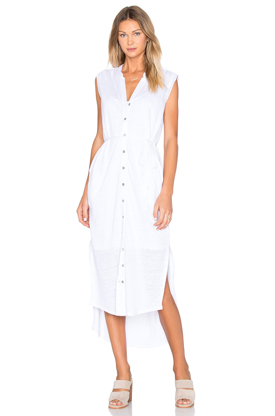 Heather Linen Maxi Shirt Dress in White