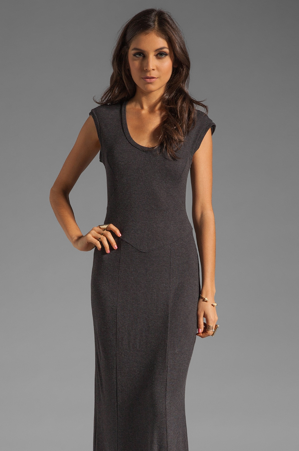 Heather Splice Maxi Dress in Heather Black