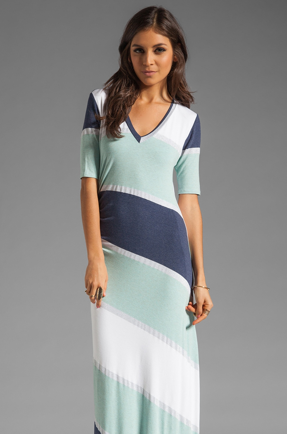 Heather V Neck Maxi Dress in Aqua