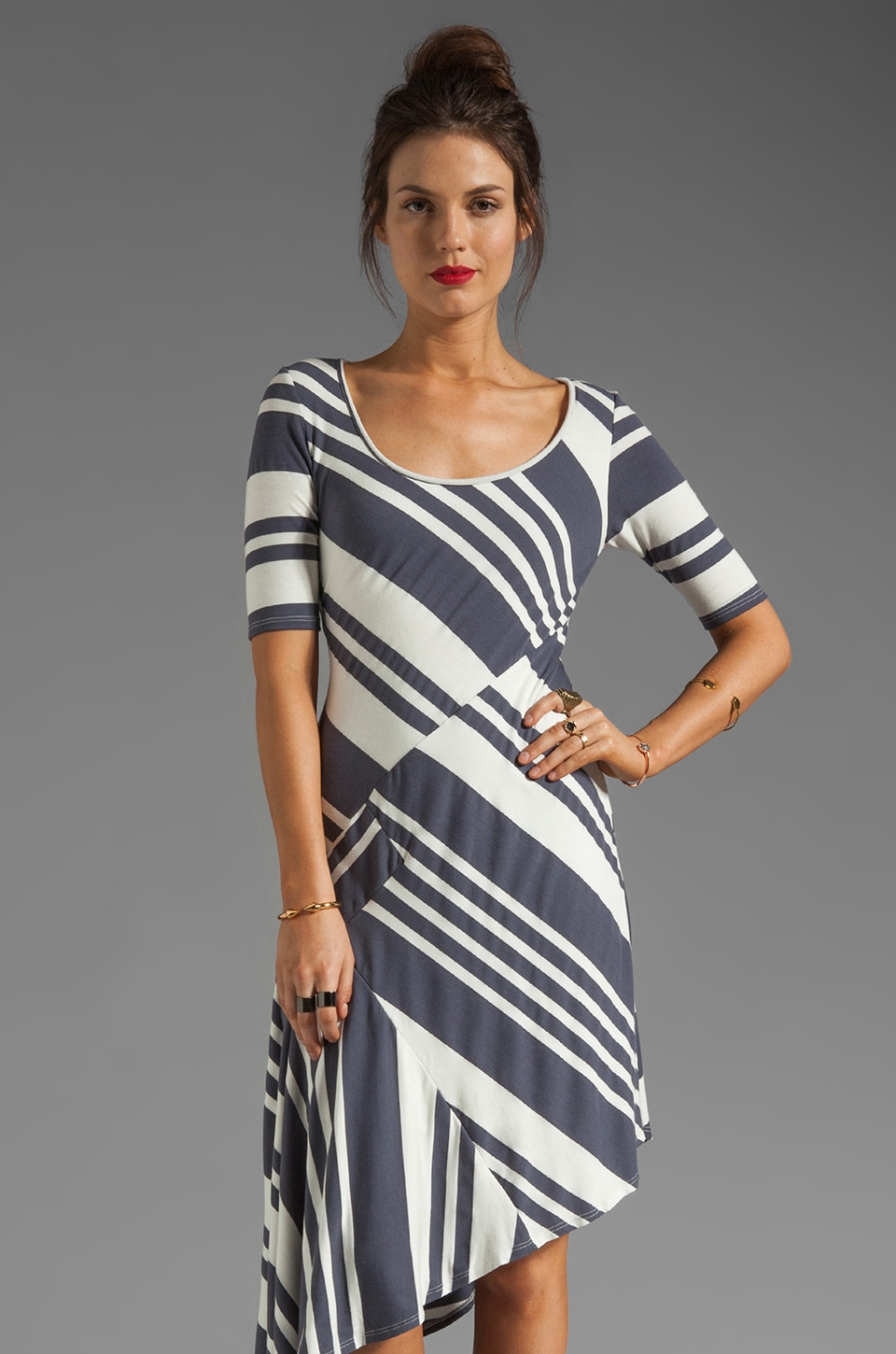 Heather Asymmetrical Dress in Granite