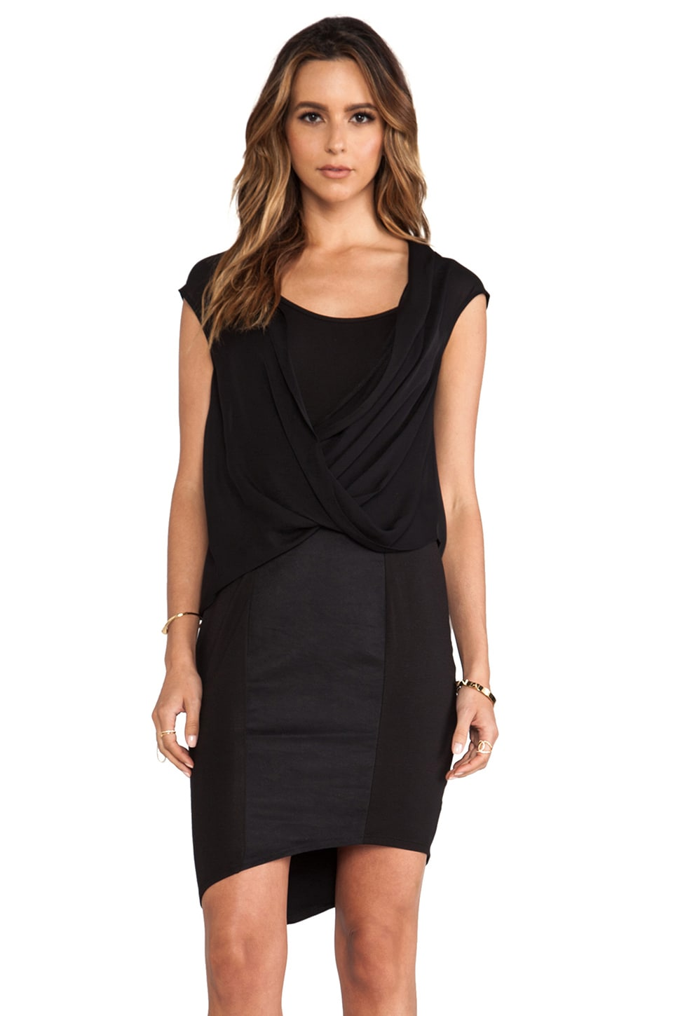 Heather Asymmetrical Surplice Dress in Black