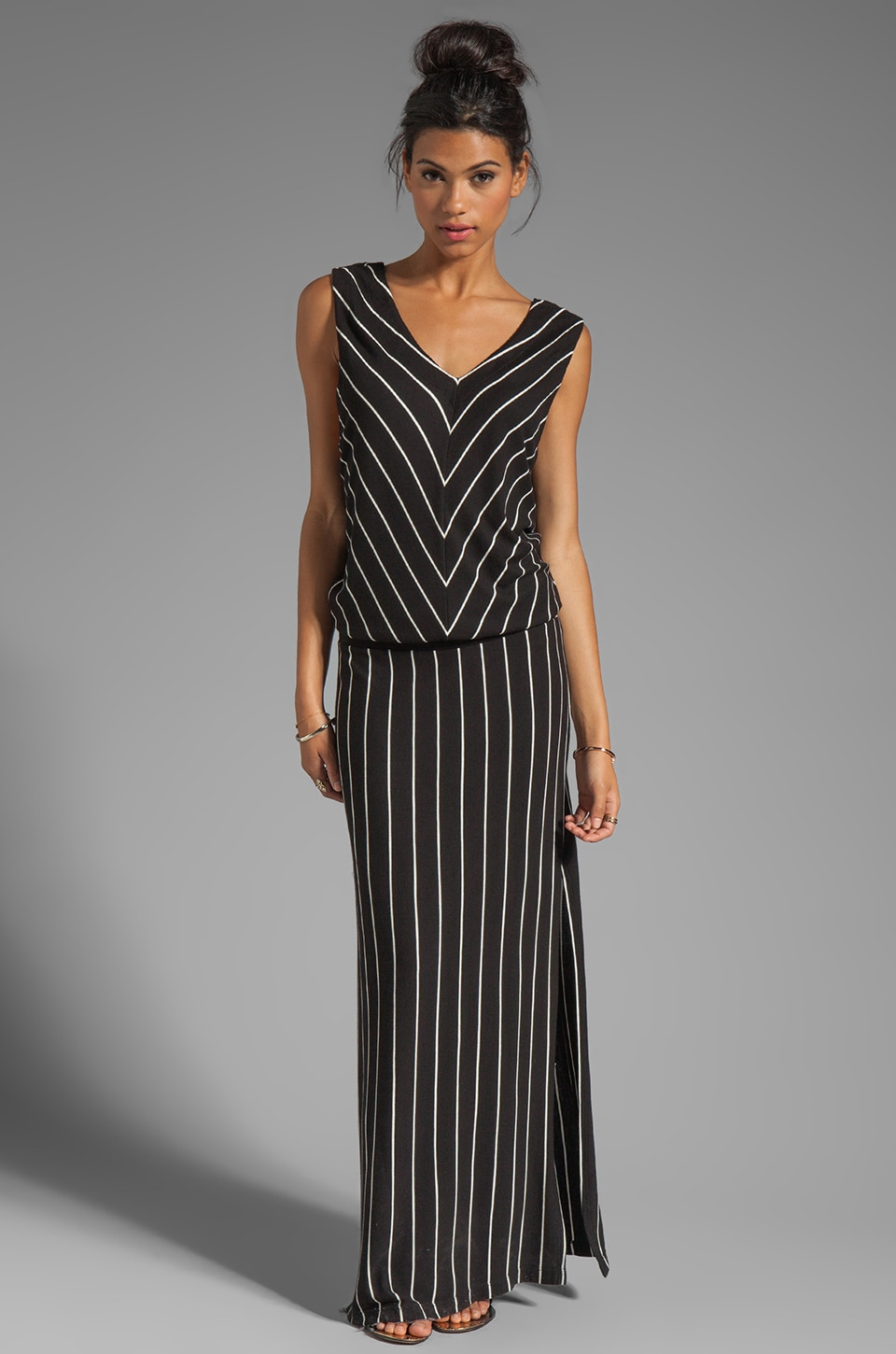 Heather Rib Stripe Double V Maxi Tank Dress in Black/White