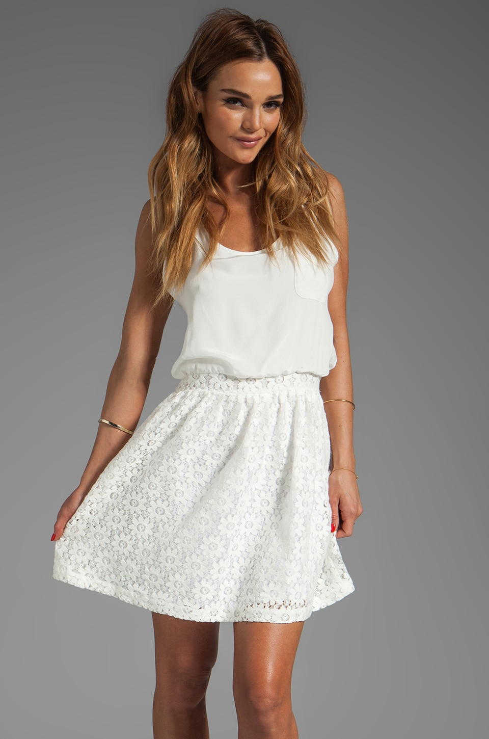 Heather Lace Pocket Tank Dress in White