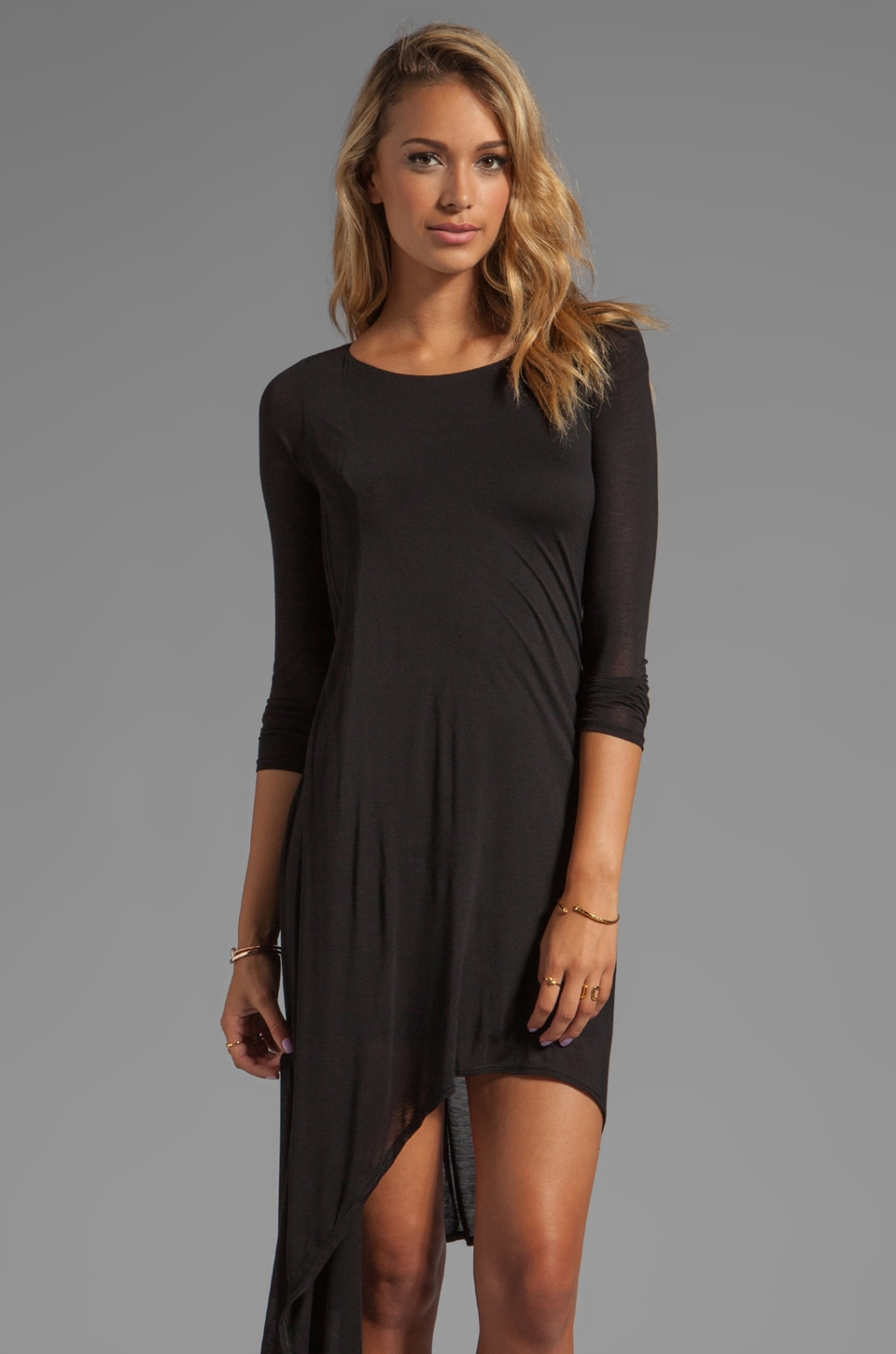 Heather Asymmetric Long Sleeve Dress in Black