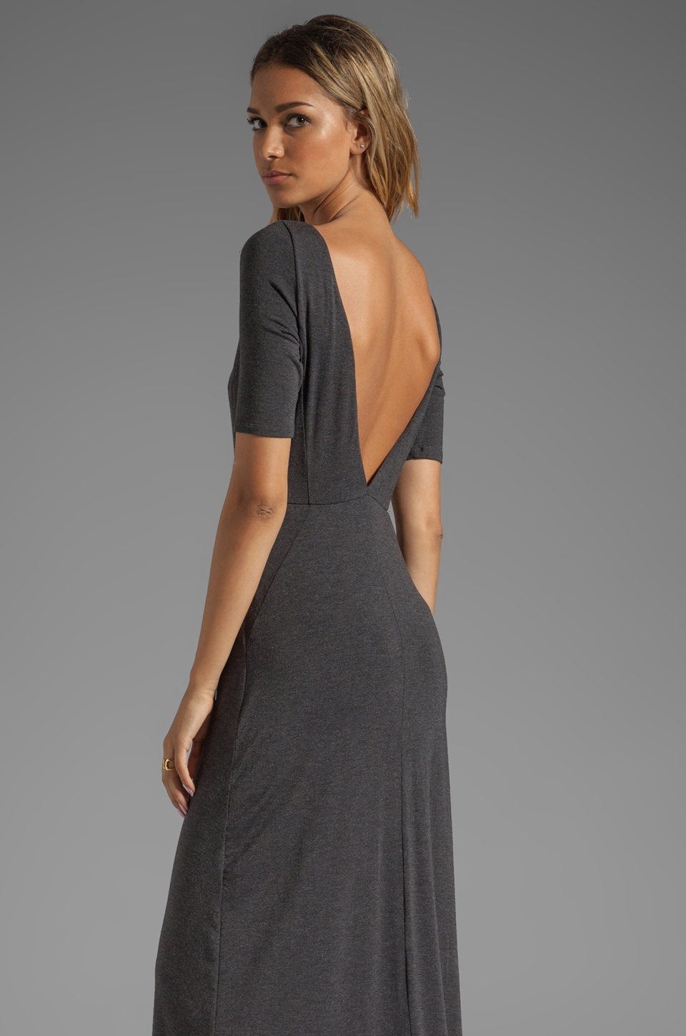 Heather V Back Maxi Dress in Heather Black