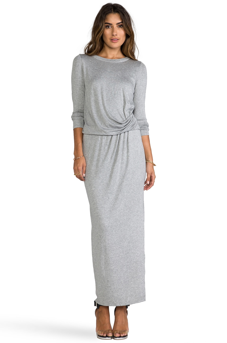 Heather Tuck Maxi Dress in Light Heather Grey